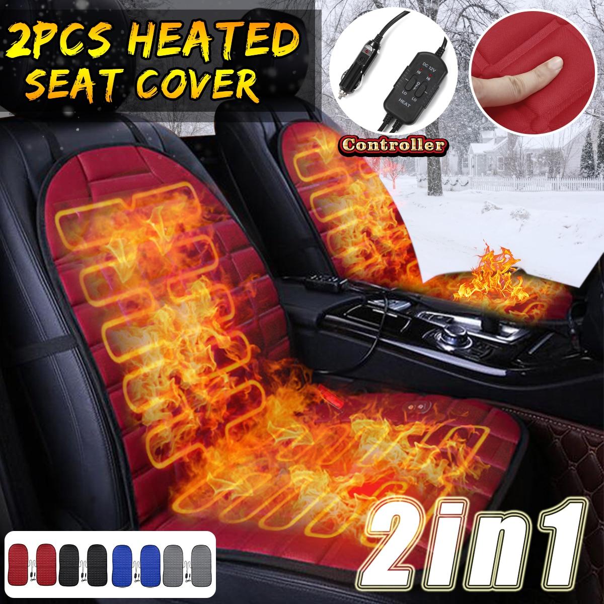 2 pièces en 1 rapide chauffé et réglable noir/gris/bleu/rouge voiture électrique siège chauffant voiture style hiver coussin coussins Auto