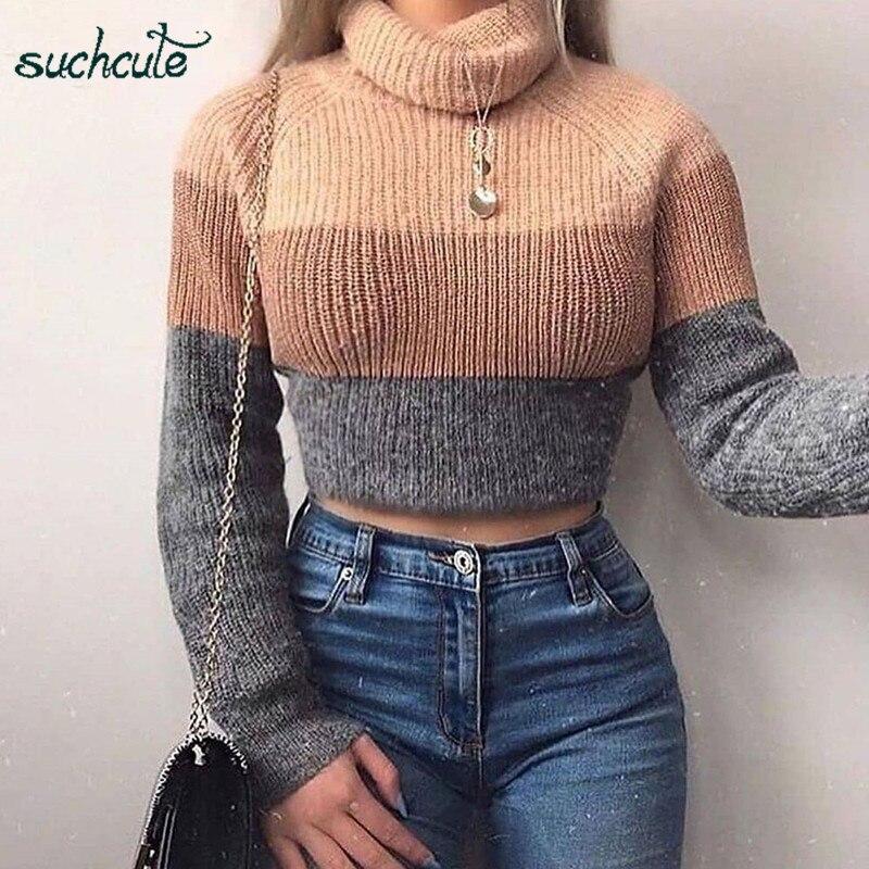 SUCHCUTE Turtleneck Pullover For Women Knitting Casual Longsleeve Detachable Winter Wear 2019 Korean Style Festival Female Tops