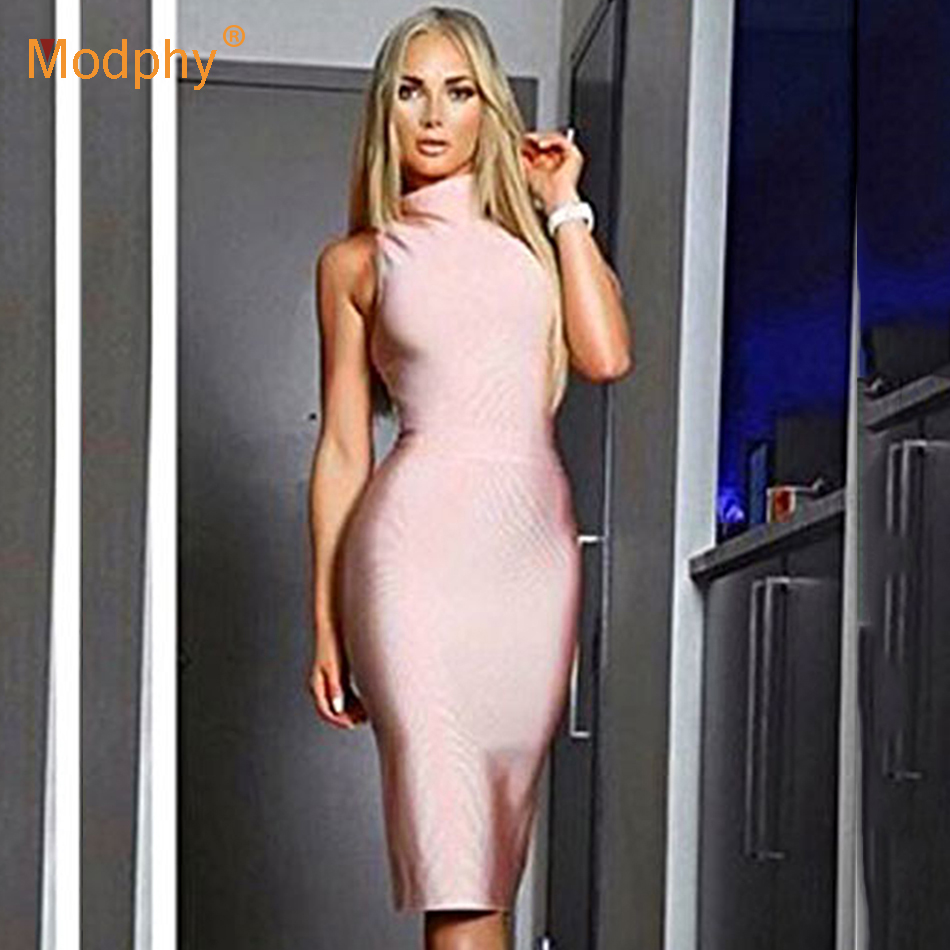 2019 Autumn Winter New Fashion Midi Women S Bandage Dress Sexy Sleeveless Bodycon Dress Club Celebrity