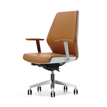 Sunon High quality Full Leather Office chair Reclining Ergonomic Boss Manager Chair Natural Wood Armrest