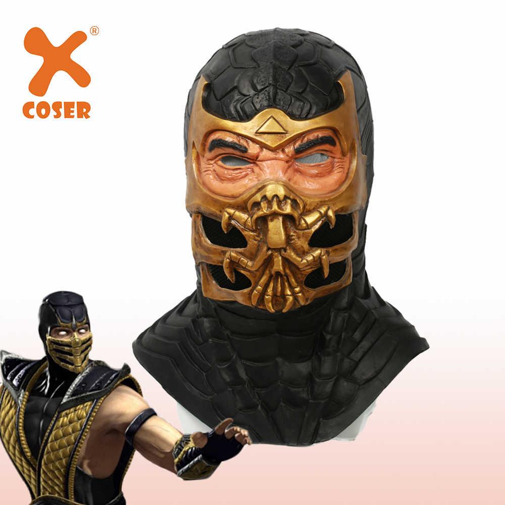XCOSER mmoral Kombat 9 маска скорпиона игра косплей аксессуары головной шлем Хэллоуин аксессуары к костюму для Косплей Маска на все лицо
