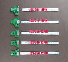 20 conjuntos para dualshock4 ps4 pro magro controlador de carregamento da placa do porto soquete jds 001 030 040 050 com 12 14 pinos cabo flexível de alimentação