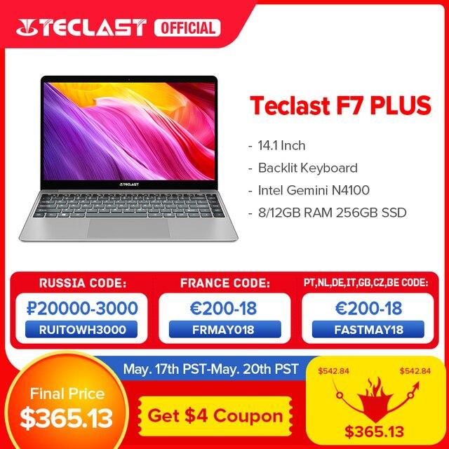 """Teclast F7 Plus 14.1"""" Laptop 8GB/12GB RAM 256GB SSD Intel Gemini Lake N4100 1920 x 1080 FHD Windows 10 Backlit Keyboard Notebook 1"""