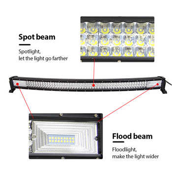 "3-Row 22"" 32\"" 42\"" 52\"" Curved LED Light Bar Offroad Led Bar Combo Beam Led Work Light Bar 12v 24v For 4x4 4WD SUV ATV Cars"