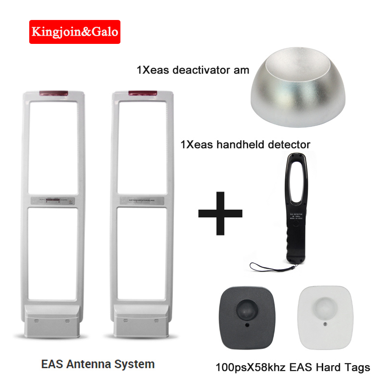 New Arrival Anti Theft Gate Security Antenna EAS RF Antenna Alarm System With Hard Labels Tags & Deactivator & Handheld Tester
