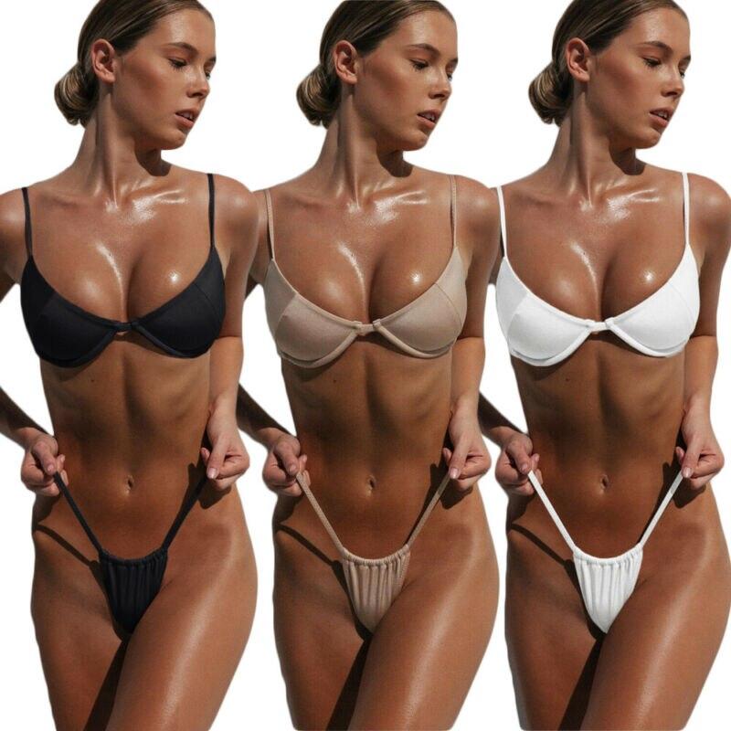 New 2020 Sexy Women Solid Bikini Set Push-up Padded Swimsuit Swimwear Beachwear Bathing