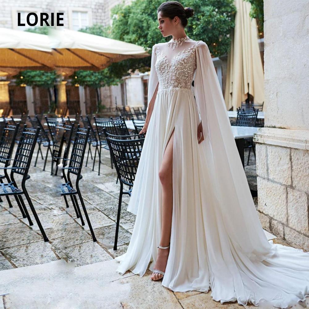 LORIE High Collar A-line Wedding Dresses Cape Sleeve Lace Chiffon Open Back Bohemian Bridal Gowns Beach Princess Party Dress