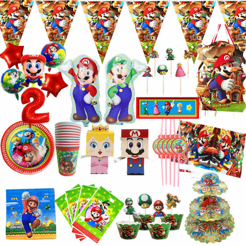 Super Mario Birthday Party Wegwerp Borden Cup Servet Rietjes Mario Bros Party Decoraties Ballonnen Vlag/Banners Feestartikelen