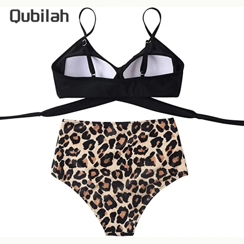 Women Criss Cross High Waisted String Floral Printed 2 Piece Bathing Suits 6