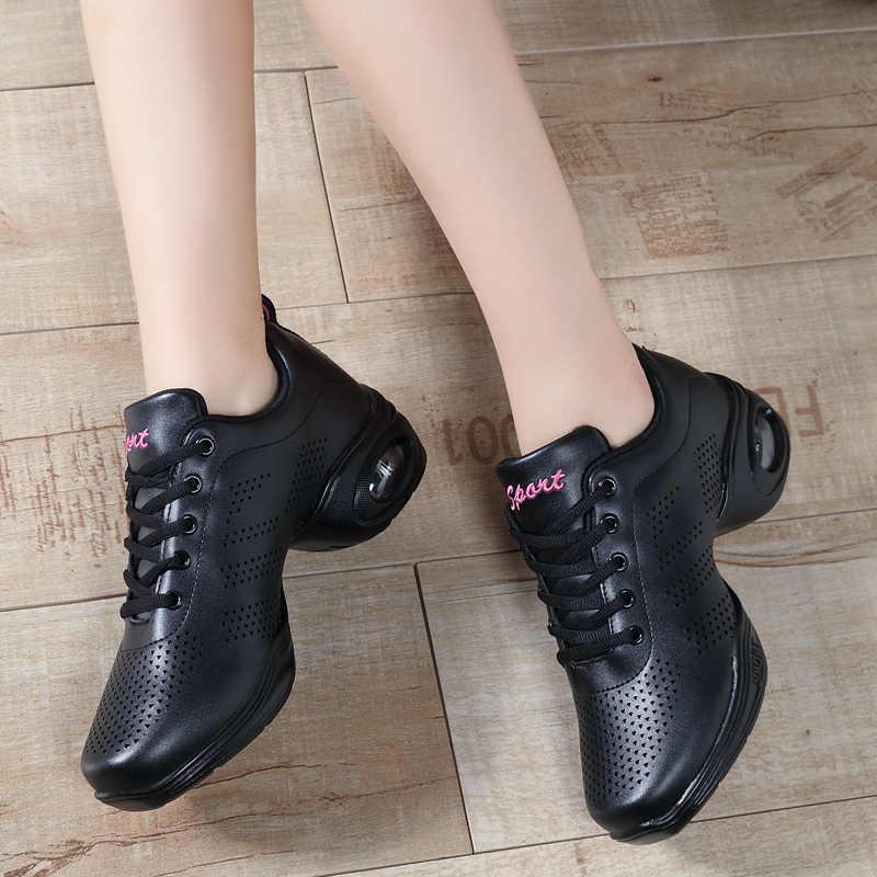 Damskie trampki jazzowe oryginalne skórzane białe czarne buty na co dzień platformy trampki oddychające taniec Zapatillas Mujer