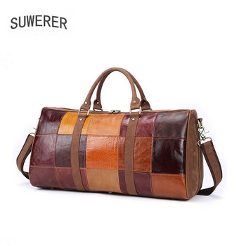 SUWERER New Genuine Leather men bag Stitched leather travel bag large capacity first layer cowhide travel bag luggage bag men first layer cowhide genuine leather sling chest bag large capacity cross body pack daypack vintage travel school hiking
