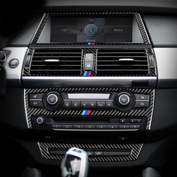 For BMW X5 X6 E70 E71 F15 F16 Accessories Carbon Fiber Car Interior Navigation Air Conditioning CD Control Panel Styling Sticker image