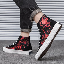LASPERAL Men Casual Canvas Shoes High Top Print Sneakers Summer Trainers Leisure Shoes Men's Flats Slip Shoes Chaussures hommes(China)