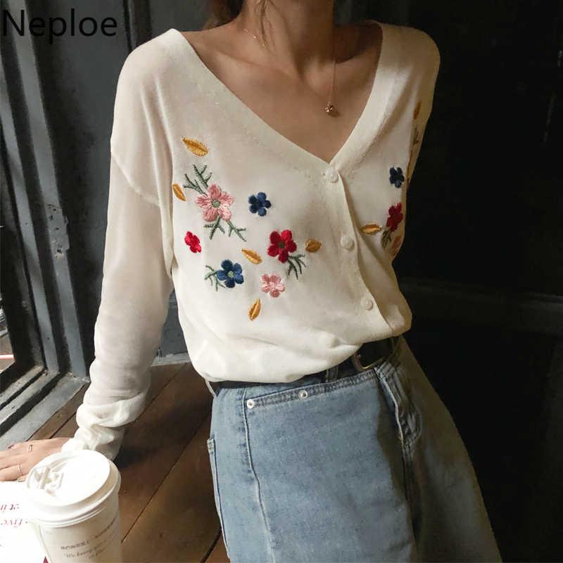 Neploe 꽃 자수 스웨터 봄 2020 레트로 싱글 브레스트 브이 넥 가디건 한국어 패션 긴 소매 여성 톱 1C262