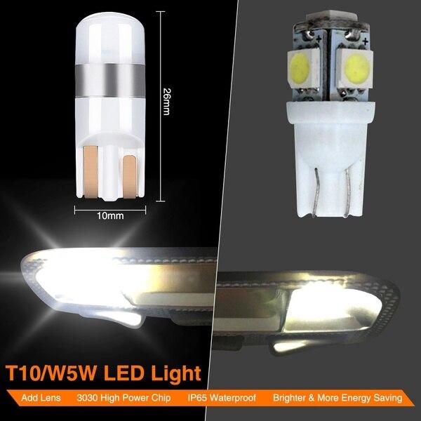 4X Error T10 Bulb Canbus 3030 Smd Led Car Parking Light White 6000K
