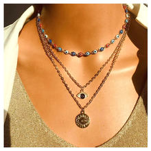 HaHaGirl Bohemian Vintage Evil Eyes Multi-layer Pendant Necklaces For Women Fashion Choker Necklaces Jewelry Girls Gifts