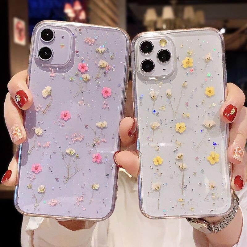 Custodia Glitter per iPhone 11 custodia paraurti in silicone con fiori secchi su iPhone 12 Pro Max Mini 8 7 Plus 6 6s X XR XS MAX SE 2020 cover