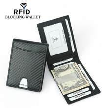 Billetera delgada de cuero con Clip para dinero para hombre, funda de bloqueo RFID de fibra de carbono, monedero pequeño negro