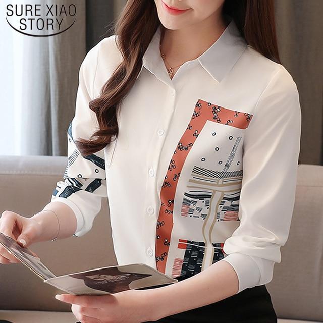 Korean Fashion Clothing Blusas Mujer De Moda 2021 Spring Long Sleeve Office Lady Blouse  Print Button  Chiffon Shirts 8805 50 1