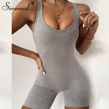Simenual Ribbed Sporty Workout Biker Shorts Playsuits Women Sleeveless Casual Solid Fitness Bodycon Rompers Summer 2020 Clothing