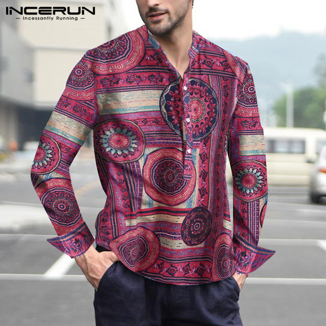Coton hommes chemise impression col montant Vintage manches longues Camisa Masculina Style ethnique chemises décontractées ample hommes 2020 INCERUN