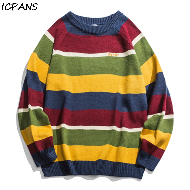 ICPANS Japanese Korean Sweater Men Women Vintage Cotton Striped Pullovers Kint wear Mens  Sweaters Hip Hop Streetwear Fashion