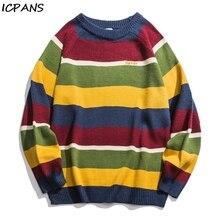 ICPANS Japanese Korean Sweater Men Women Vintage Cotton Striped Pullovers Kint wear Mens  Sweaters Hip Hop Streetwear Fashion