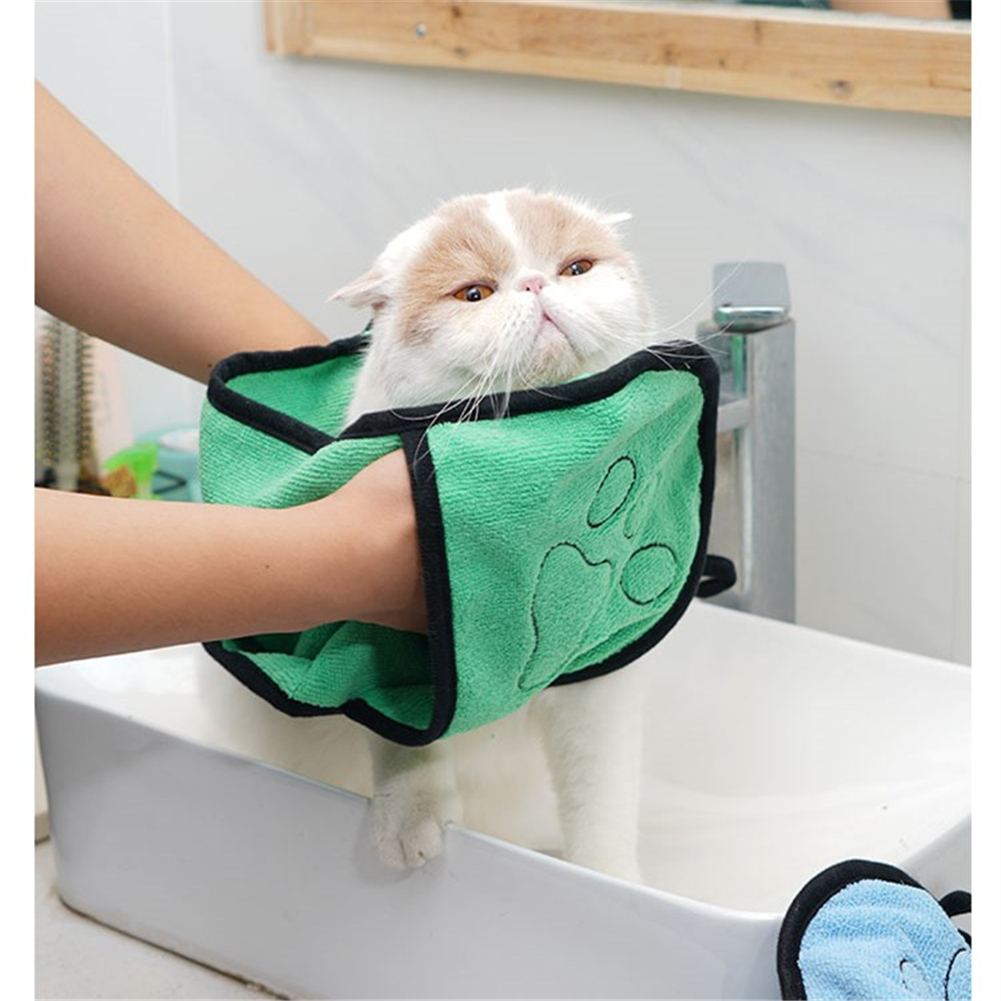Cat Dog Bath Towel Pets Cleaning Supplies Microfiber Super Ultra-Absorbent Puppy Drying Glove Towels Blanket With Pocket