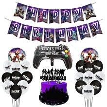 25pcs/set Fornite Birthday Party Decoration Set Purple Birthday Pull Flag Handle Aluminum Film Balloon Cake Insert Flag Decor