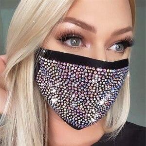 2020 Fashion Sparkly Rhinestone Mask Elastic Reusable Washable Fashion Masks Face Bandana Face Decor Women Jewelry