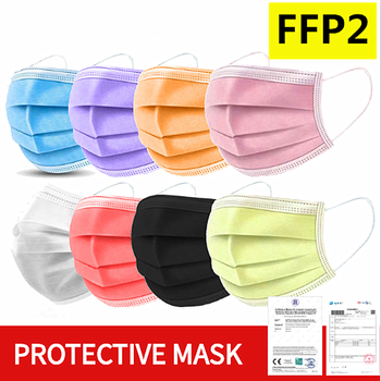 In Stock! 100 Pcs FFP2 Disposable Mondmasker Face Mouth Masks Mouth Mask Non-woven Melt Blown 3-layer Mascarilla mascarilas