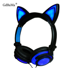 2019 Cat Ear headphones LED Ear headphone cat gaming earphone Flashing Glowing Headset Gaming Earphones for Adult and Children все цены