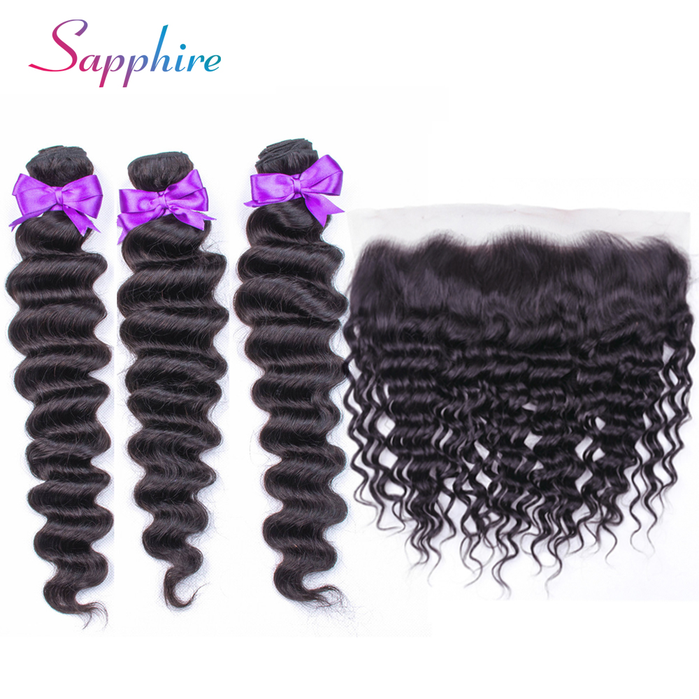 Sapphire Deep Wave Bundles with Brazilian Hair Weave Bundles With Closure non Remy Human Hair Bundles With Closure Frontal-in 3/4 Bundles with Closure from Hair Extensions & Wigs    1