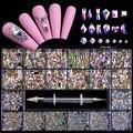 FlorVida Nail Art Rhinestones Kit Acrylic Boxed 21 Grids Mixed Size Set 1pc Pick Up Pen Large Crystal Decorations 3D AB Flat Gem
