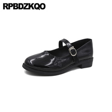 Lakleer mary jane vintage goedkope schoenen china designer flats zwarte vierkante neus fitness 2019 vrouwen japanse school dames