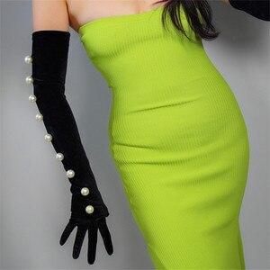 Image 4 - Guantes de terciopelo negro para mujer, 2cm, cordón de perla blanca de gran tamaño 60cm de largo, elástico negro, dorado, terciopelo, guantes de noche para mujer WSR24