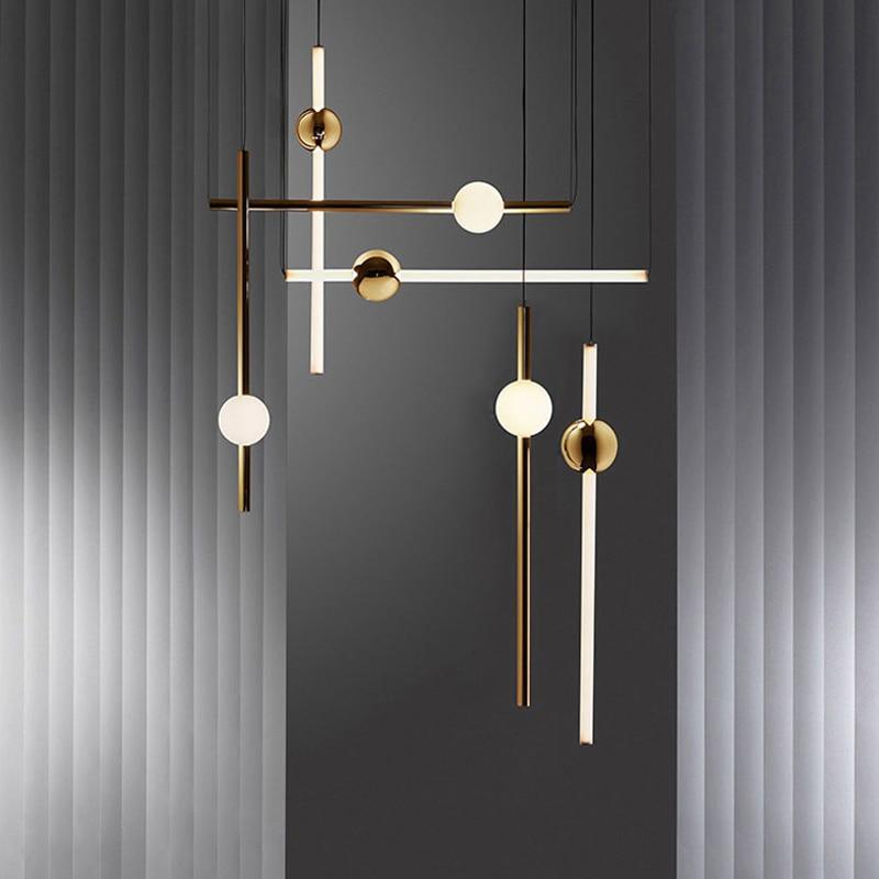 Interior lighting chandelier Nordic decoration modern home lounge ceiling illuminant long line restaurant hanging lamps