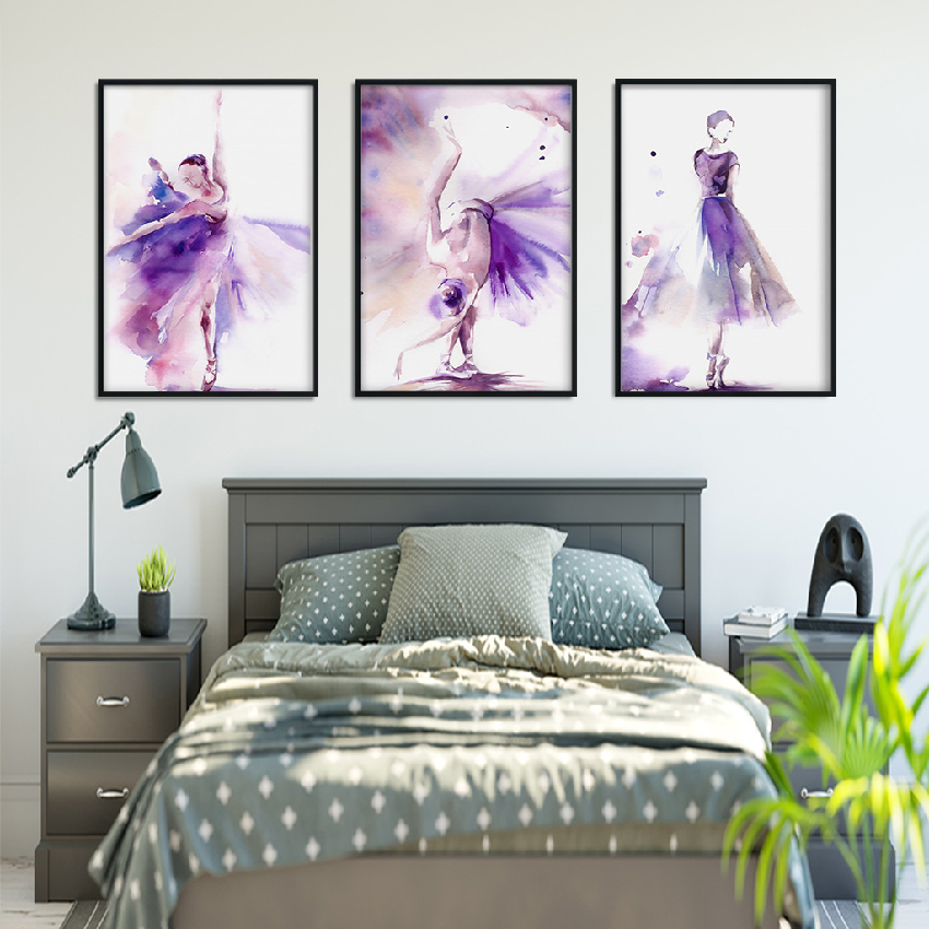 Abstract Art Poster Print Purple Ballerina Canvas Painting Picture Home Wall Art Graffiti Bedroom Modern Decoration Custom