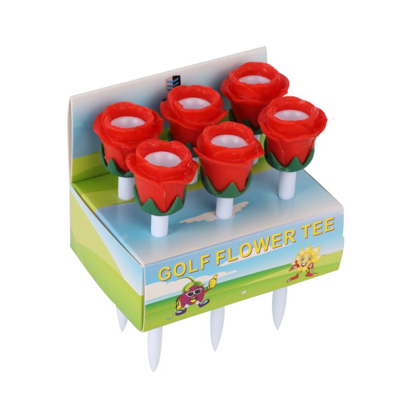 6pcs Golf Tees Rose Flower Design Lovely Cushion Top Portable Lightweight Long Plasitc Golf Tees Golf Accessories Tools New