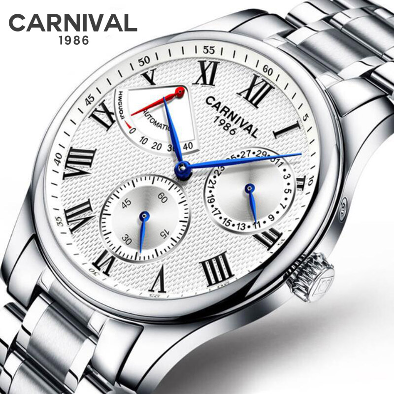 Watch Men Fashion Sport Automatic Mechanical Clock Mens Watches CARNIVAL Luxury Military Waterproof Watch Kinetic energy display
