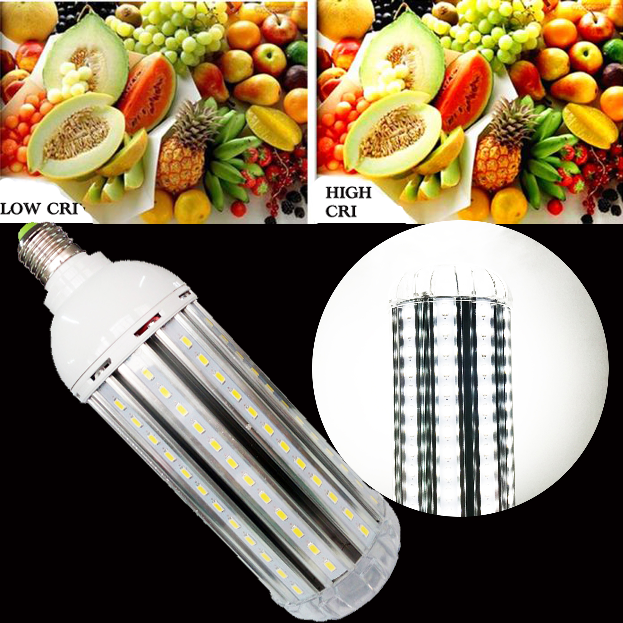 High CRI RA 95+ E27 LED Corn Light 40W AC85-265V Ultra Bright 5500K Daylight White 4000LM For Photography Video Studio Lighting