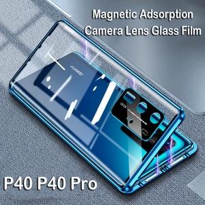 Магнитный чехол для телефона Huawei P40 Pro Mate 20X, чехол для объектива камеры Mate 30, металлический бампер для Honor 30S, Note 10, 9X, V30