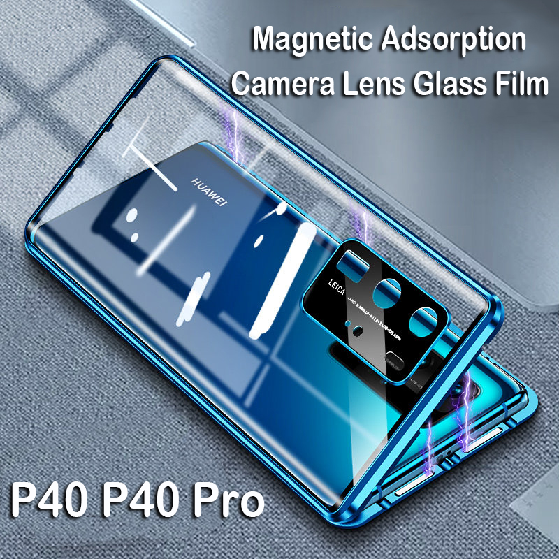 Magnetic Phone Case For Huawei P40 Pro Mate 20X 5G Mate 30 Camera Lens Glass Cover Metal Bumper Honor 30S Note 10 9X V30 Case(China)