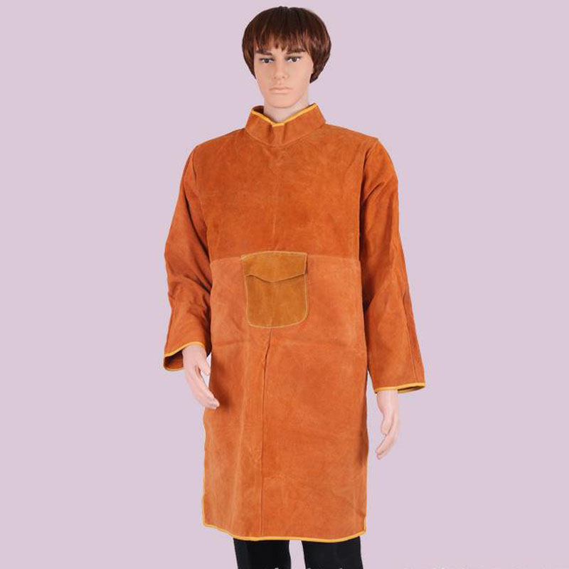 85cm Welding Coat Apron Protective Leather Safety Heat Insulation Yellow