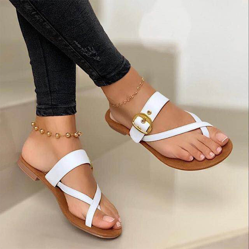 Fashion Slippers For Women Clip Toe Summer Buckle Sandals Casual Ladies Beach Shoes Woman Flip Flops Female 2021 Square Heels