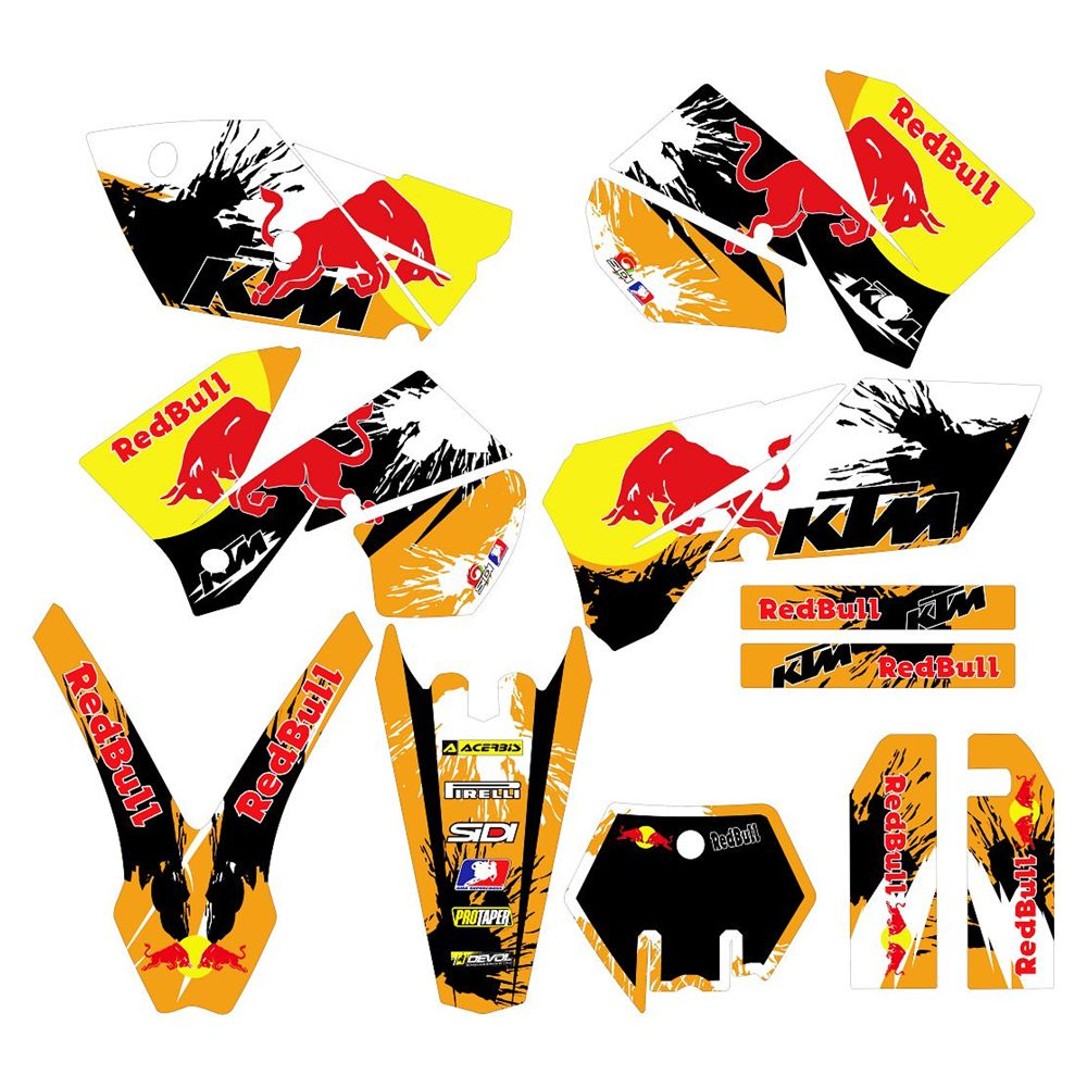 For KTM SX 125 250 450 525 2005 2006 Bull Full Graphics Decals Stickers Custom Number Name 3M Bright  Stickers Waterproof