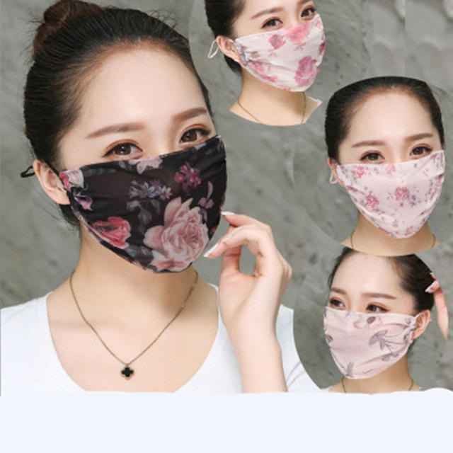 Hot New Korean Version Of Lady Chiffon Floral Female Summer Ultra-thin Sunscreen And Breathable UV Protection Mask Thin Masks