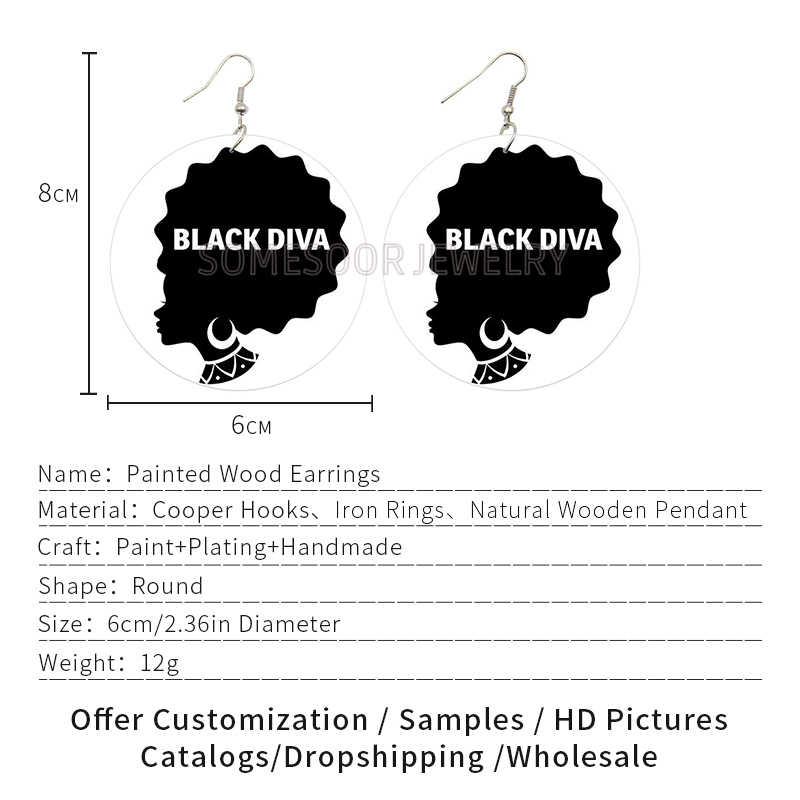 SOMESOOR les deux côtés imprimer noir Diva dame boucles cheveux naturels africain en bois boucles d'oreilles Afro ethnique bijoux pour femmes cadeaux