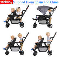 Seebaby Fold Twins Baby Stroller Double Pram Two Seat Can Stand/Sit Fit Newborns Baby and Children Carriage Pushchair