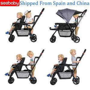 Image 1 - Seebaby pli jumeaux bébé poussette Double landau deux sièges peut se tenir debout/sasseoir nouveau né bébé et enfants landau poussette